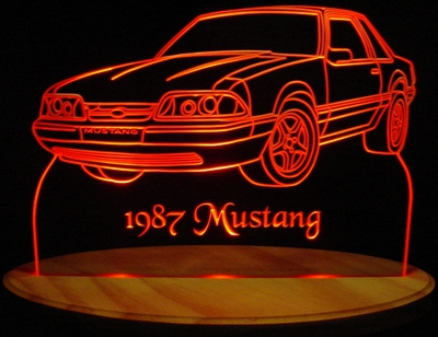 1987 Ford Mustang Acrylic Lighted Edge Lit LED Car Sign / Light Up Plaque