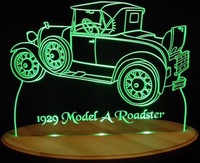 1929 Ford Model A Roadster Acrylic Lighted Edge Lit LED Car Sign / Light Up Plaque