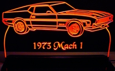 1973 Ford Mustang Mach 1 Acrylic Lighted Edge Lit LED Car Sign / Light Up Plaque