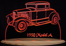 1930 Ford Model A Acrylic Lighted Edge Lit LED Car Sign / Light Up Plaque