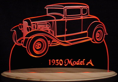 1930 Ford Model A Acrylic Lighted Edge Lit LED Sign / Light Up Plaque Full Size Made in USA