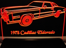 1978 Cadillac Eldorado Acrylic Lighted Edge Lit LED Sign / Light Up Plaque Full Size USA Original