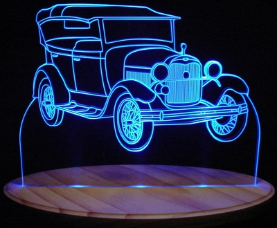 1928 Ford Model A Convertible Acrylic Lighted Edge Lit LED Car Sign / Light Up Plaque