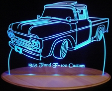 1959 Ford Pickup Truck F100 Acrylic Lighted Edge Lit Sign / Light Up Plaque