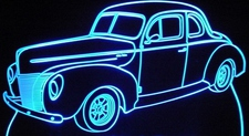 1940 Ford Coupe Acrylic Lighted Edge Lit LED Car Sign / Light Up Plaque