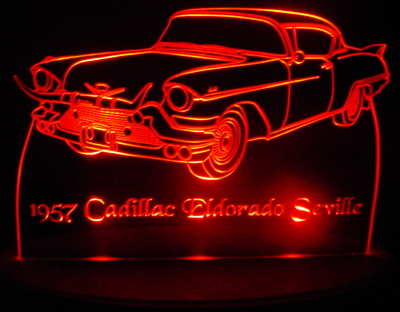 1957 Cadillac Eldorado Seville Acrylic Lighted Edge Lit LED Car Sign / Light Up Plaque