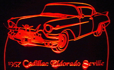 57 Eldorado Seville Acrylic Lighted Edge Lit LED Sign / Light Up Plaque Full Size Made in USA