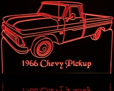 1966 Chevy Pickup Acrylic Lighted Edge Lit LED Sign / Light Up Plaque Full Size Made in USA