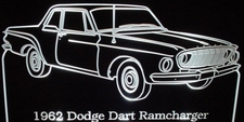 1962 Dodge Dart Ramcharger Acrylic Lighted Edge Lit LED Car Sign / Light Up Plaque