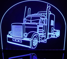 Semi Truck Peterbilt Acrylic Lighted Edge Lit LED Car Sign / Light Up Plaque