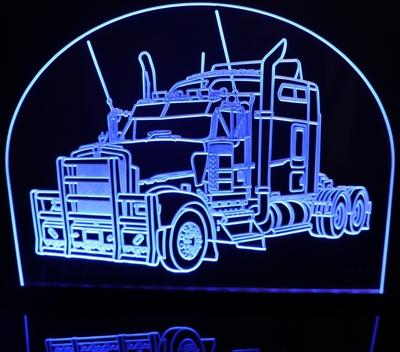 semi truck acrylic lighted edge lit led truck sign light up plaque. Black Bedroom Furniture Sets. Home Design Ideas