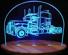 2000 Semi Truck Peterbilt Acrylic Lighted Edge Lit LEDTruck Sign / Light Up Plaque Large