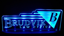 "Brudvik SAMPLE ONLY Advertising Business Logo 21"" Large Acrylic Lighted Edge Lit LED Sign / Light Up Plaque"