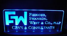 FW Advertising Business Logo Acrylic Lighted Edge Lit LED Sign / Light Up Plaque Full Size Made in USA