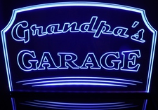 Grandpas Garage Fathers Day Acrylic Lighted Edge Lit LED Sign / Light Up Plaque Full Size USA Original