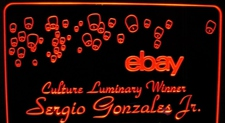 Ebay Sign Award Sample Only Design Not For Sale Acrylic Lighted Edge Lit LED Sign / Light Up Plaque Full Size USA Original