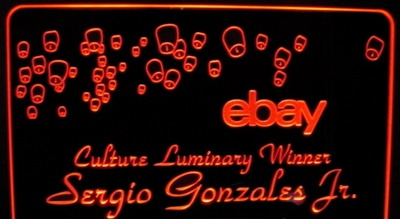 Ebay Sign Award Acrylic Lighted Edge Lit LED Sign / Light Up Plaque Full Size Made in USA