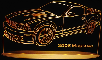 2006 Ford Mustang Acrylic Lighted Edge Lit LED Car Sign / Light Up Plaque