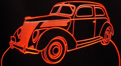 1937 Ford 2 Door Acrylic Lighted Edge Lit LED Car Sign / Light Up Plaque
