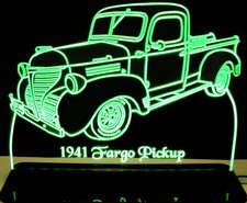 1941 Dodge Fargo Pickup Truck Acrylic Lighted Edge Lit LED Sign / Light Up Plaque Full Size Made in USA