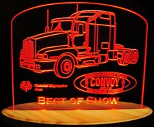 Semi Award Trophy Acrylic Lighted Edge Lit LED Sign / Light Up Plaque Full Size Made in USA