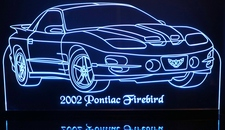 2002 Firebird Acrylic Lighted Edge Lit LED Sign / Light Up Plaque Full Size USA Original