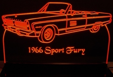 1966 Plymouth Sport Fury Acrylic Lighted Edge Lit LED Car Sign / Light Up Plaque