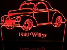 1940 Chevy Willys Coupe Chevrolet Acrylic Lighted Edge Lit LED Sign / Light Up Plaque Full Size Made in USA