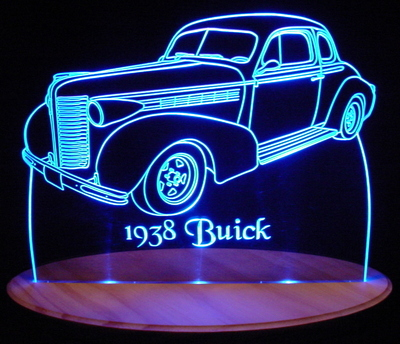 1938 Buick 2 Door Acrylic Lighted Edge Lit LED Car Sign / Light Up Plaque