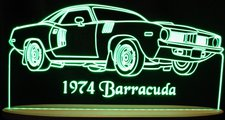 1974 Barracuda Acrylic Lighted Edge Lit LED Sign / Light Up Plaque Full Size Made in USA