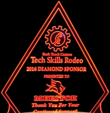 Award Trophy Presentation Acrylic Lighted Edge Lit LED Sign / Light Up Plaque Rush Full Size Made in USA