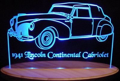 1941 Lincoln Continental Cabriolet Acrylic Lighted Edge Lit LED Car Sign / Light Up Plaque