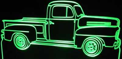 1950 Ford F1 Pickup Acrylic Lighted Edge Lit LEDTruck Sign / Light Up Plaque