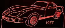 1977 Corvette Acrylic Lighted Edge Lit LED Sign / Light Up Plaque Full Size Made in USA
