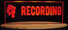 Recording Courthouse Music Studio Desk Model with Mike Rectangle Shape Acrylic Lighted Edge Lit LED Sign / Light Up Plaque Full Size Made in USA