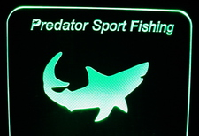 Predator Advertising Business Logo Acrylic Lighted Edge Lit LED Sign / Light Up Plaque Full Size Made in USA