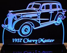 1937 Chevy Master Acrylic Lighted Edge Lit LED Sign / Light Up Plaque Chevrolet Full Size Made in USA