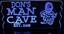 Man Cave Room Sign Plaque Recreation Caveman (add your name) Acrylic Lighted Edge Lit LED Sign / Light Up Plaque Full Size Made in USA