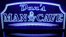 Man Cave Cave Man Acrylic Lighted Edge Lit LED Sign / Light Up Plaque Full Size Made in USA