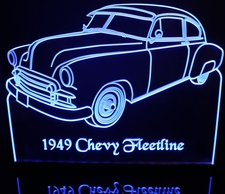 1949 Chevy Fleetline Acrylic Lighted Edge Lit LED Sign / Light Up Plaque Chevrolet Full Size Made in USA