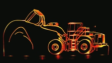 Front End Loader Acrylic Lighted Edge Lit LED Construction Equipment Sign / Light Up Plaque
