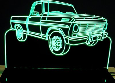 1967 Ford F100 RH Acrylic Lighted Edge Lit LED Sign / Light Up Plaque Full Size Made in USA