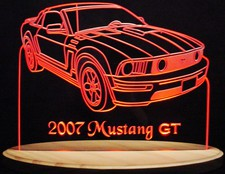 2007 Mustang GT Acrylic Lighted Edge Lit LED Sign / Light Up Plaque Full Size Made in USA