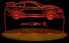 2000 Ford Mustang Cobra  R Acrylic Lighted Edge Lit LED Car Sign / Light Up Plaque