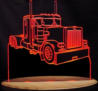Semi with Cab Lights Acrylic Lighted Edge Lit LED Sign / Light Up Plaque Full Size Made in USA