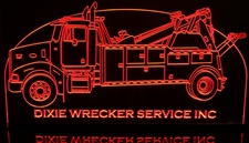 Wrecker Tow Truck Acrylic Lighted Edge Lit LED Sign / Light Up Plaque Full Size Made in USA