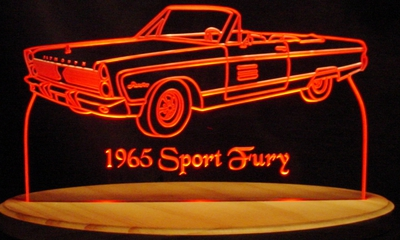 1965 Plymouth Sport Fury Conv Acrylic Lighted Edge Lit LED Sign / Light Up Plaque Full Size Made in USA
