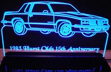 1983 Olds Oldsmobile Hurst Acrylic Lighted Edge Lit LED Sign / Light Up Plaque Full Size Made in USA