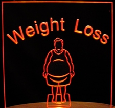 Weight Loss Scale Diet Overweight Acrylic Lighted Edge Lit LED Sign / Light Up Plaque Full Size Made in USA