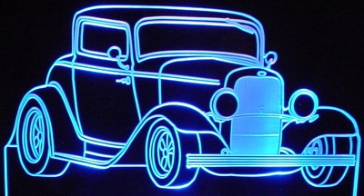 1932 Ford Hot Rod Acrylic Lighted Edge Lit LED Car Sign / Light Up Plaque